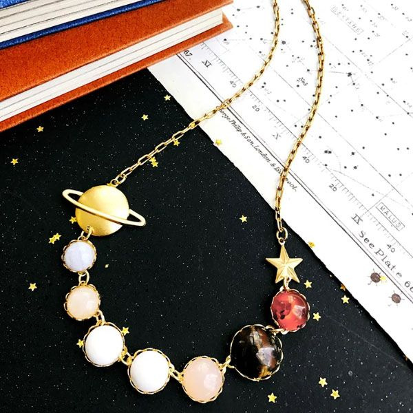 Saturn Gemstone Moons Necklace