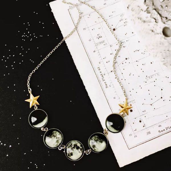 Glow In The Dark Moon Phase Necklace