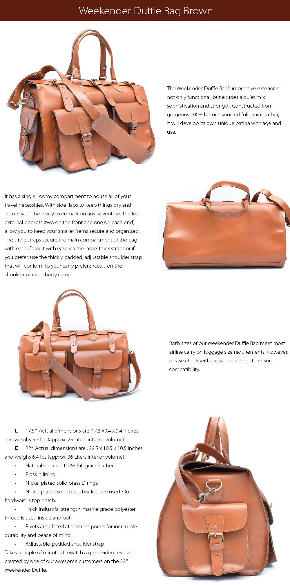 Weekender Duffle Bag  Leather Collection