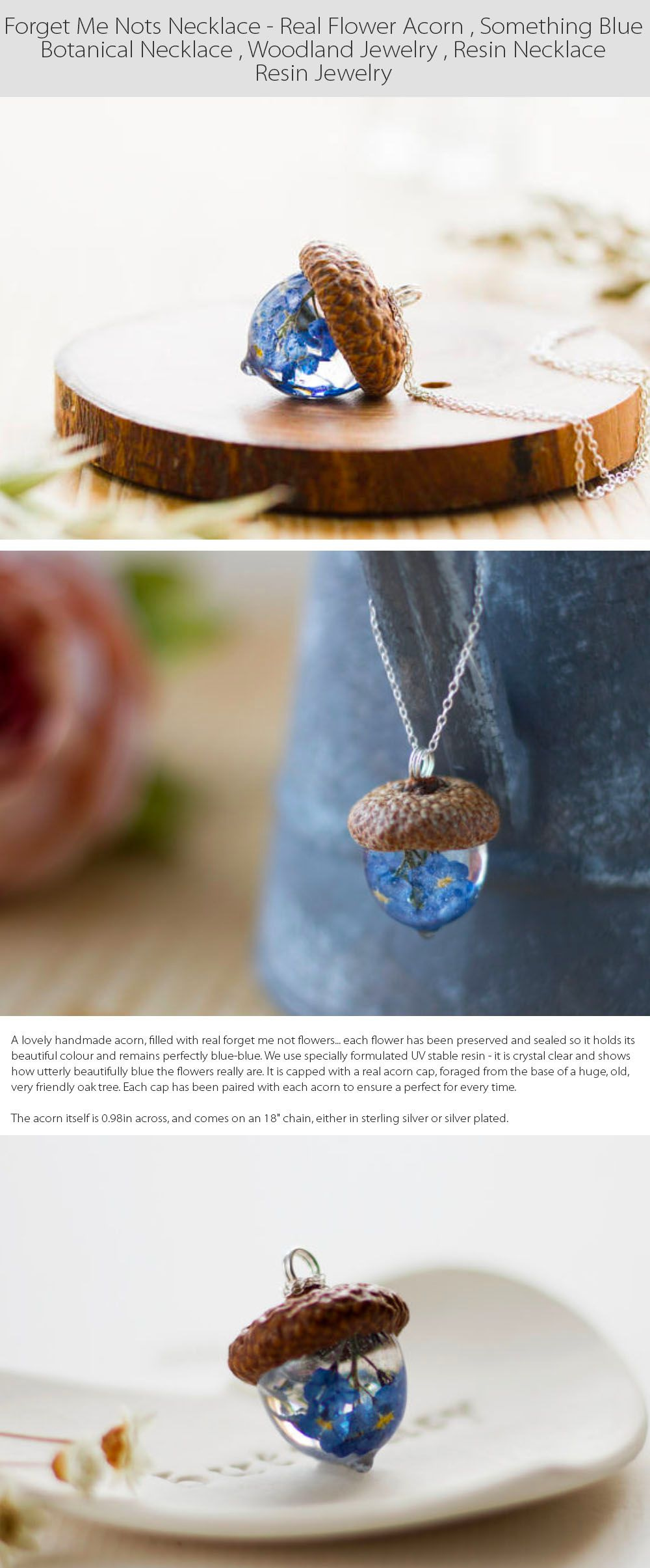 Forget Me Not Necklace Woodland Jewelry
