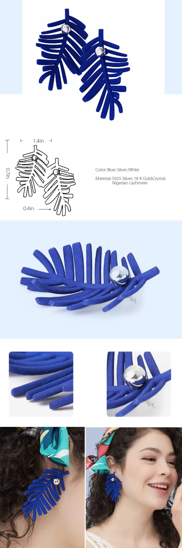 Blue Leaf Earrings 3D Print Jewelry