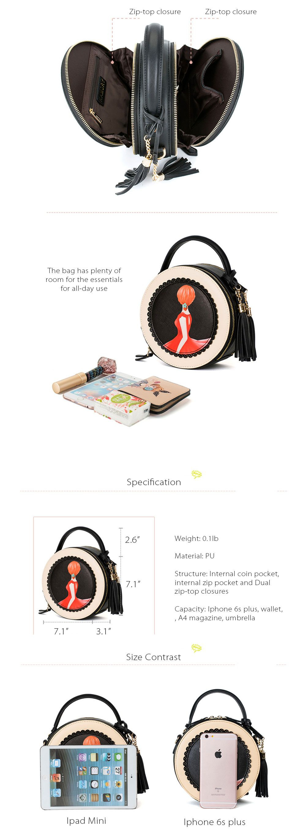 Round Shape Bag Colorful and Cute Style