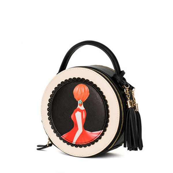 INOpets.com Anything for Pets Parents & Their Pets Retro Art Round Handbag