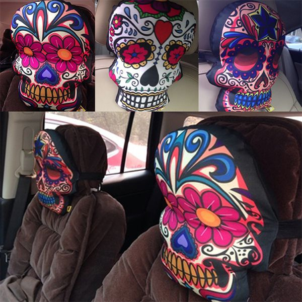 Sugar Skull Car Pillow