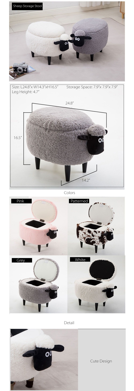 Solid Wood Creative Sheep Storage Stool Sheep Storage Stool