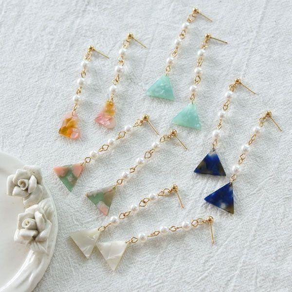 Pearl Resin Drop Earrings