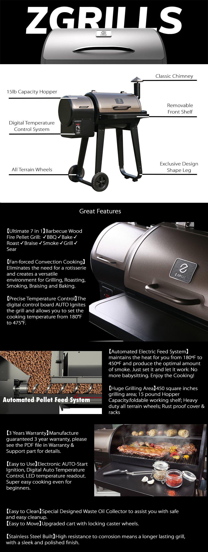 Z GRILLS ZPG-450A 7 in 1 BBQ