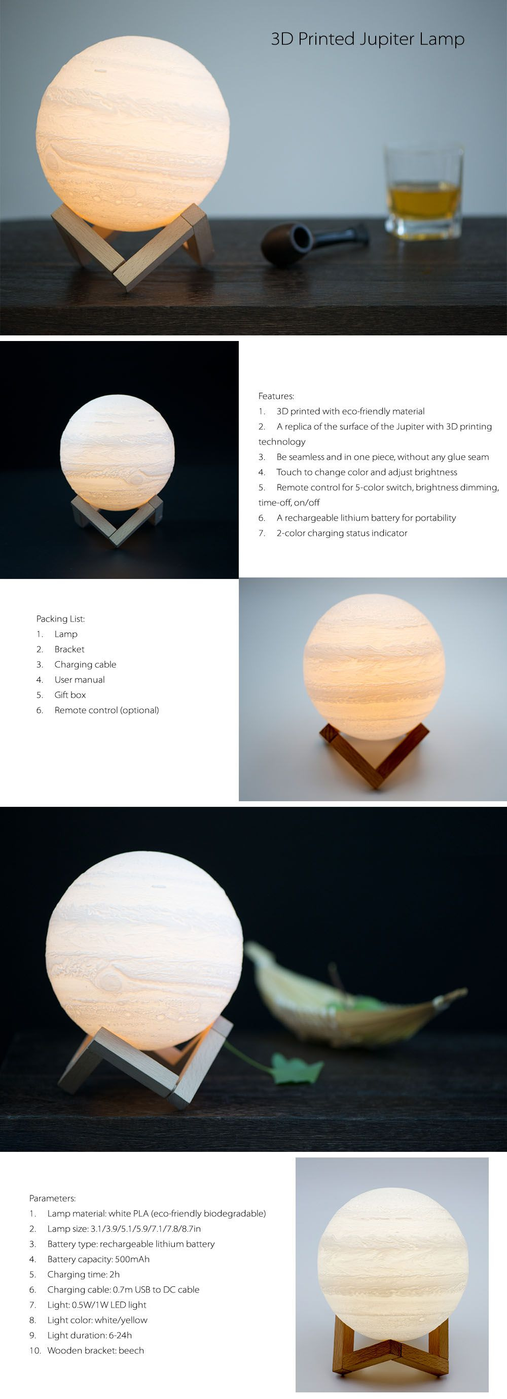 3D Printed Jupiter Lamp Hi-Tech Lamp