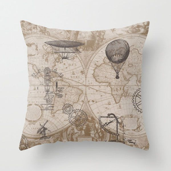 Steampunk Cartography Cushion