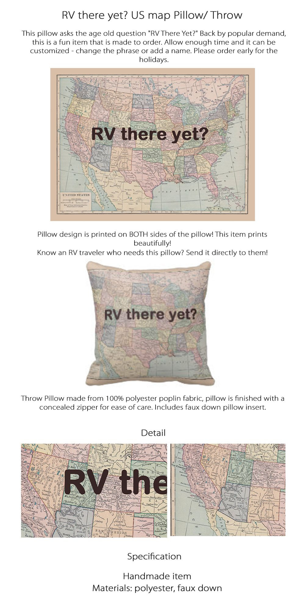 RV Throw Pillow Vintage Maps