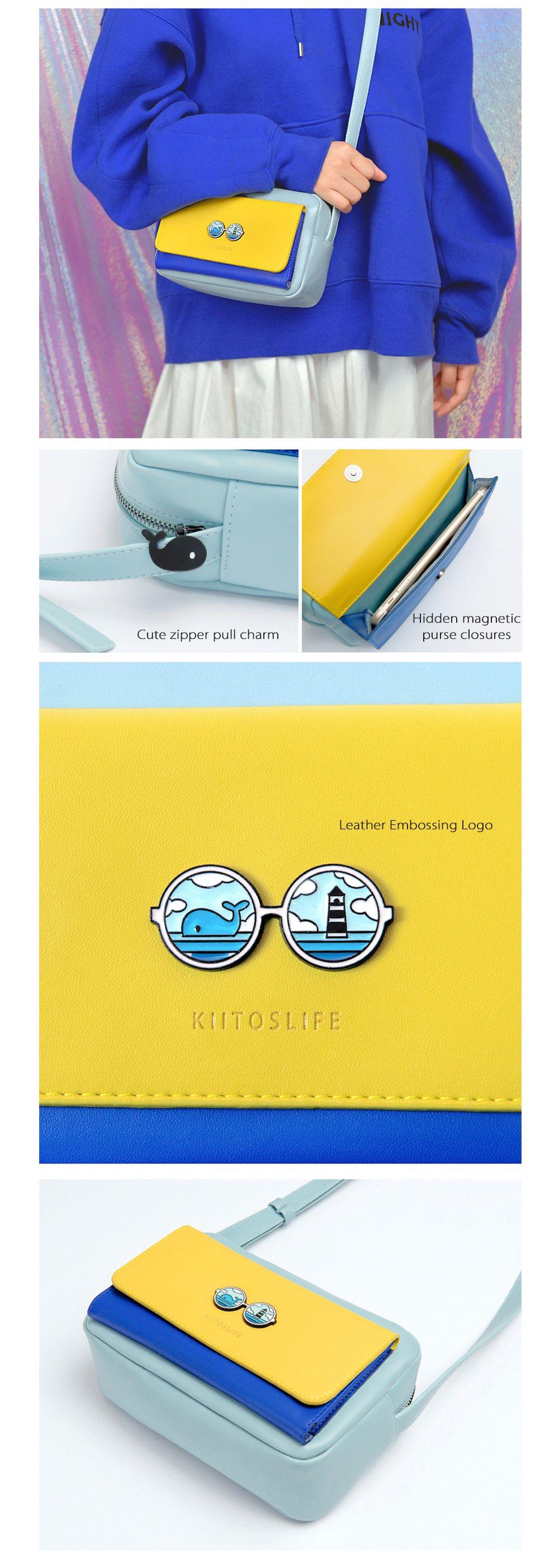 Contrast Color Leather Messenger Bag Colorful Design