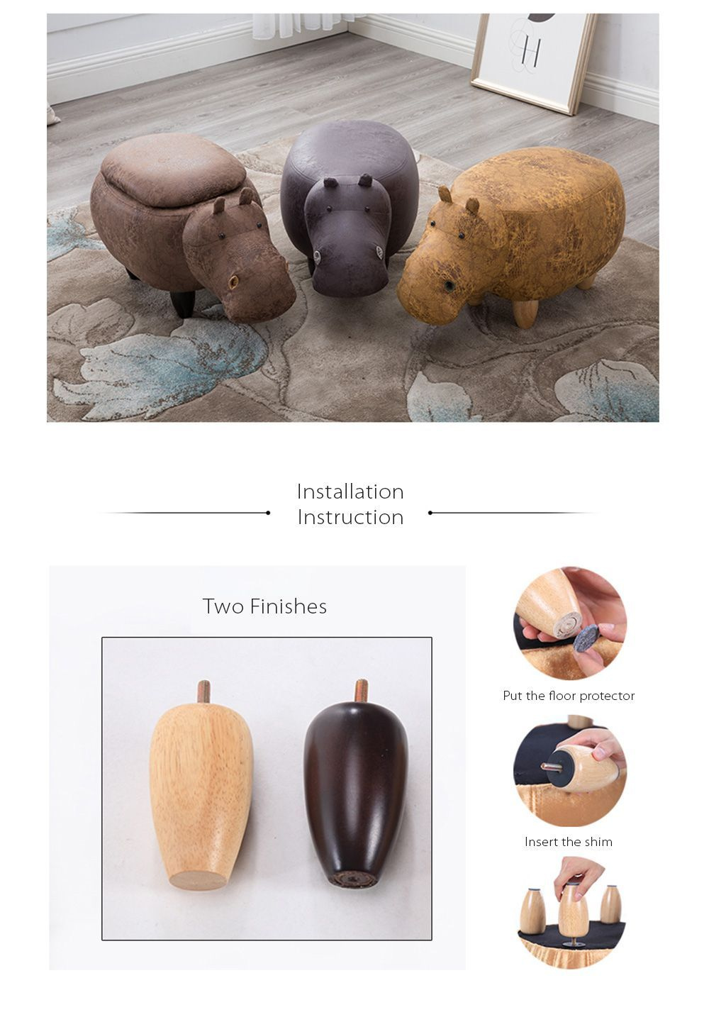 Hippo Stool Faux Leather Design