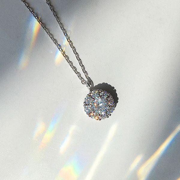 Halo Rhinestone Pendant Necklace