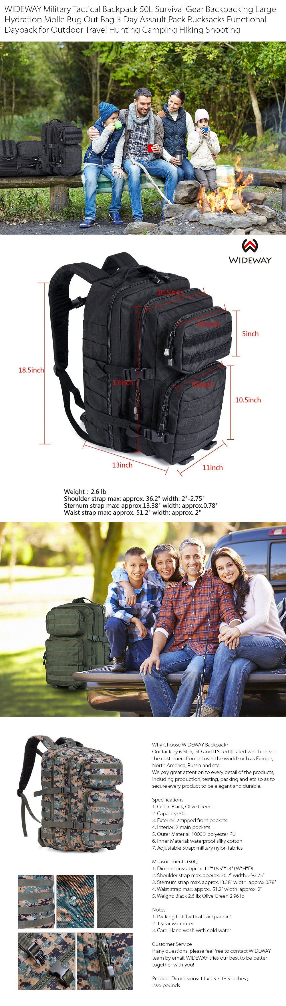 WIDEWAY Tactical Survival Backpack 3 Day Pack