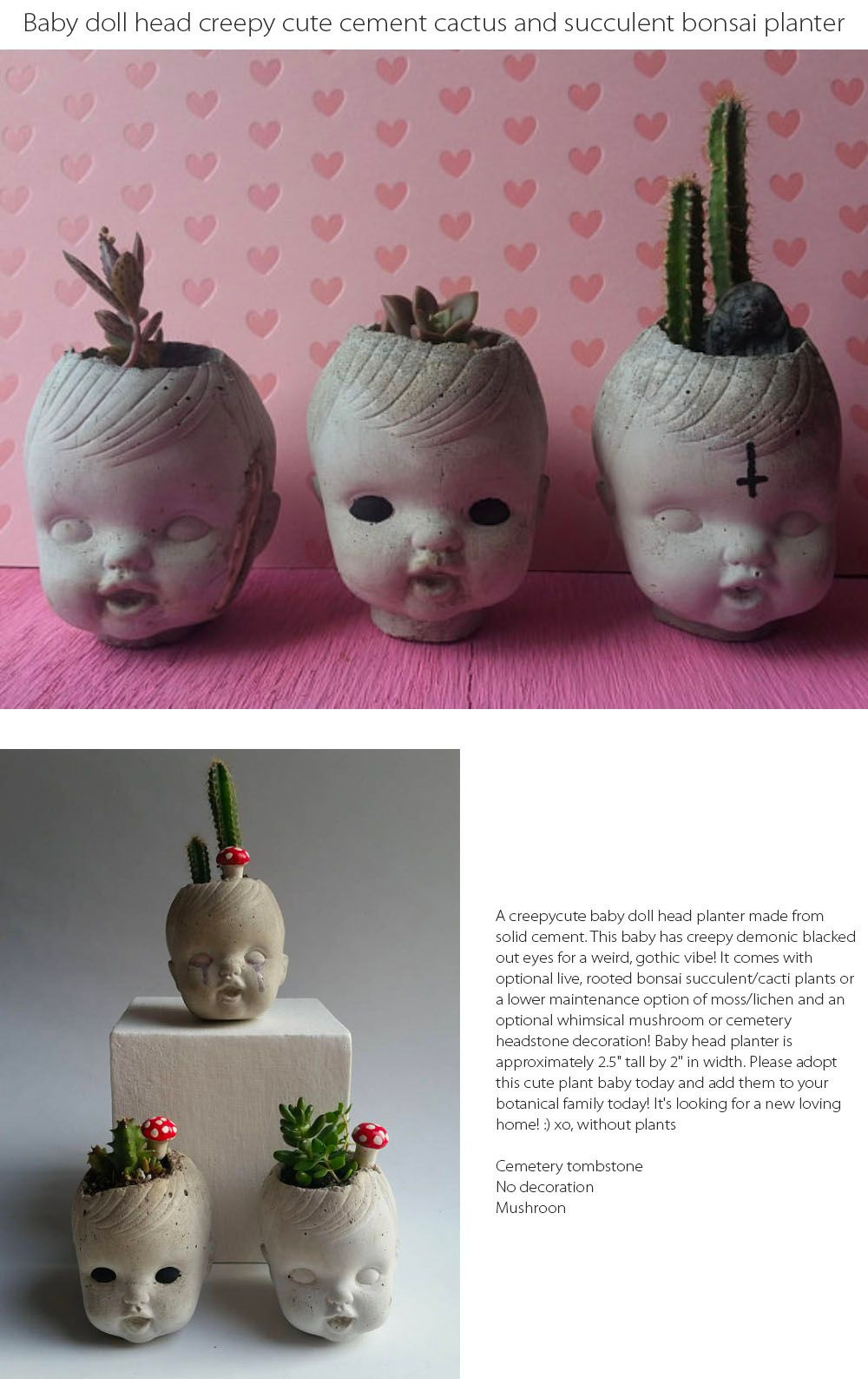 Baby Doll Head Planter Creepy Planter