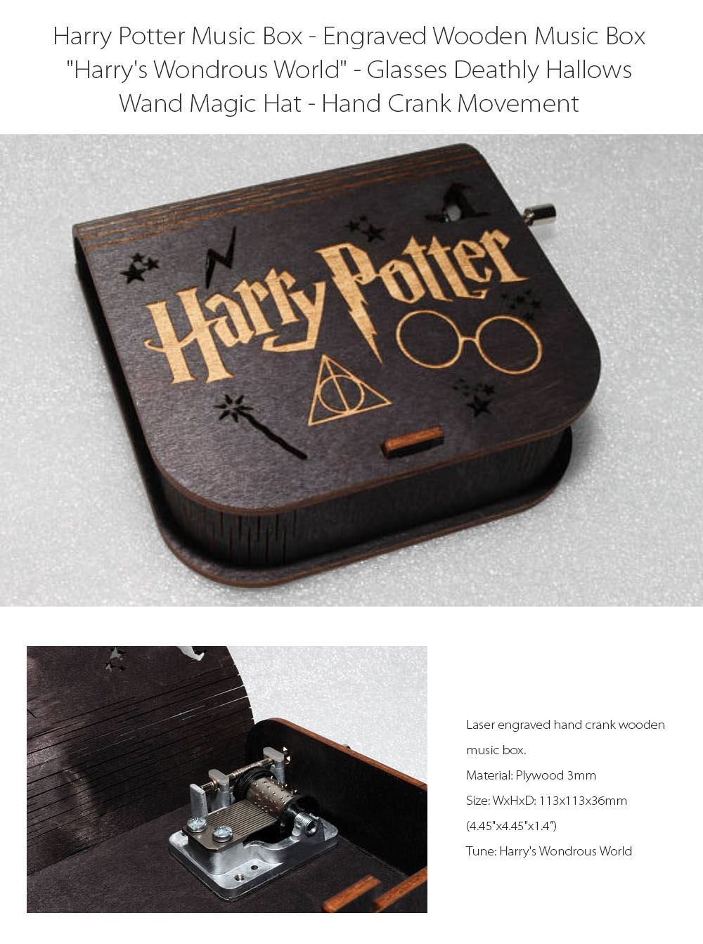 Harry Potter Music Box Plays Harry's Wondrous World