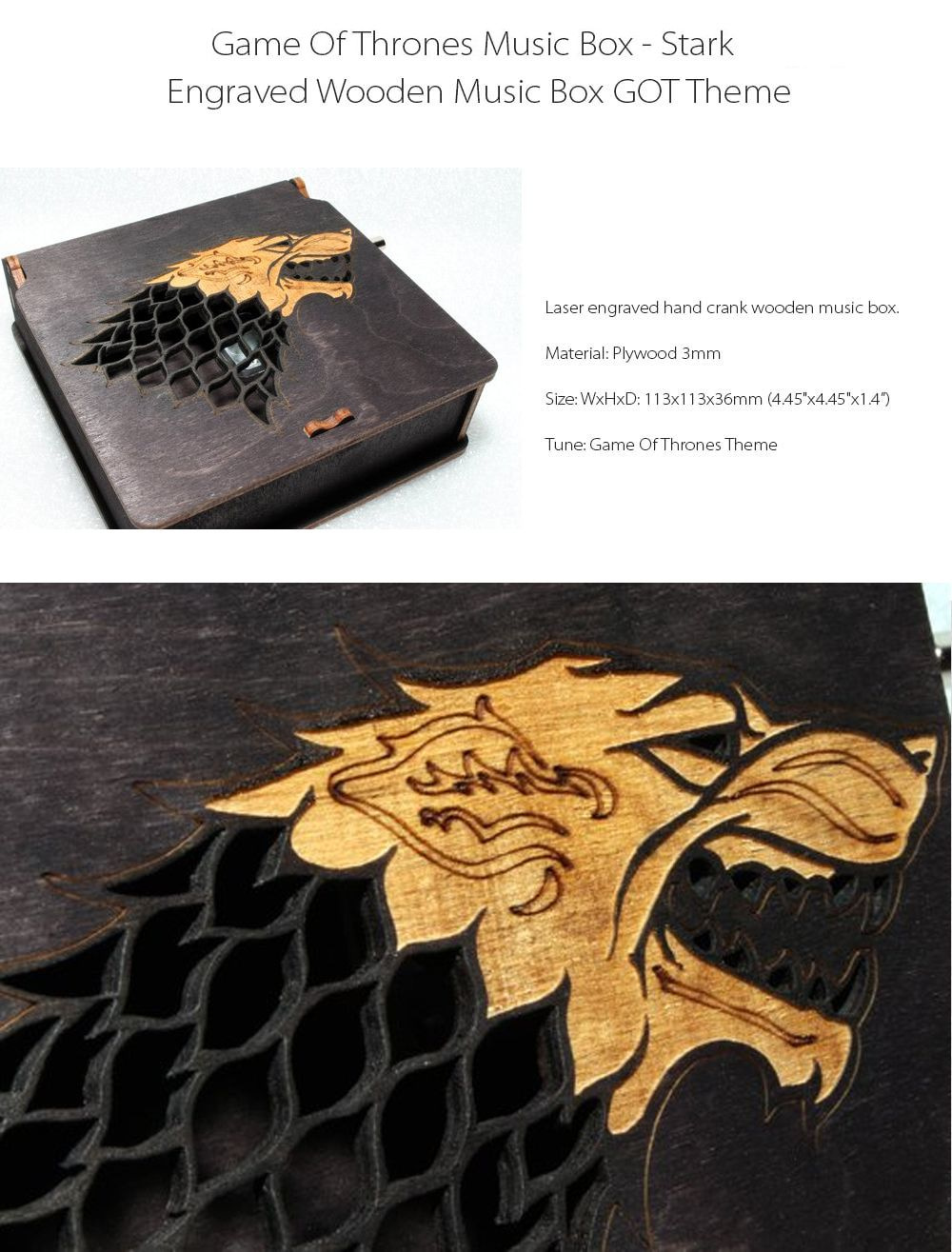 Game Of Thrones Music Box Winter Is Coming House Stark Emblem
