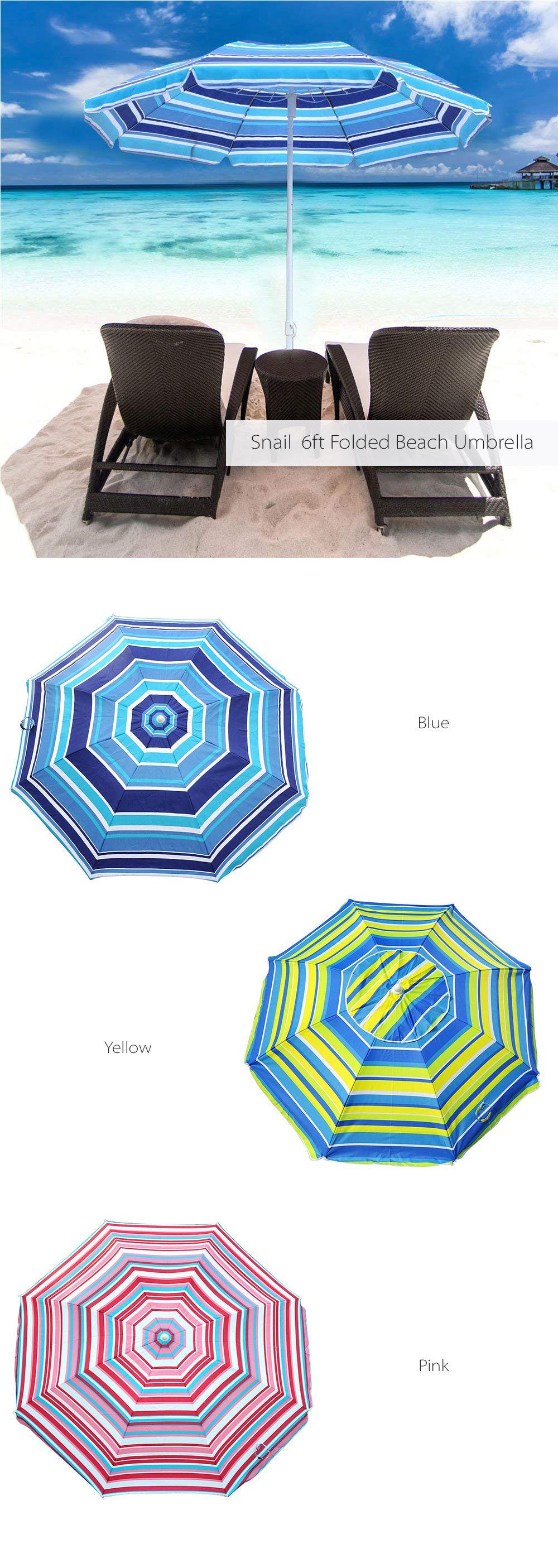 Snail 6ft Folded Beach Umbrella UV Protection Stripe