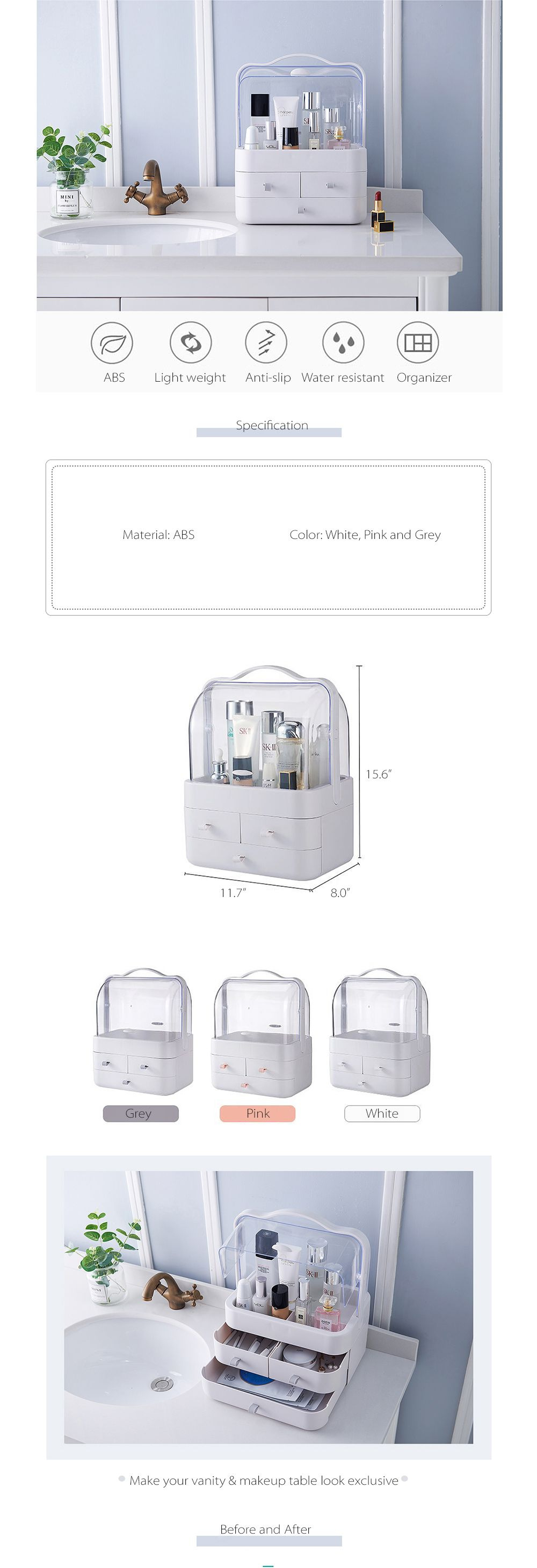 Cosmetics Storage Box With Transparent Cover Jewelry Trio