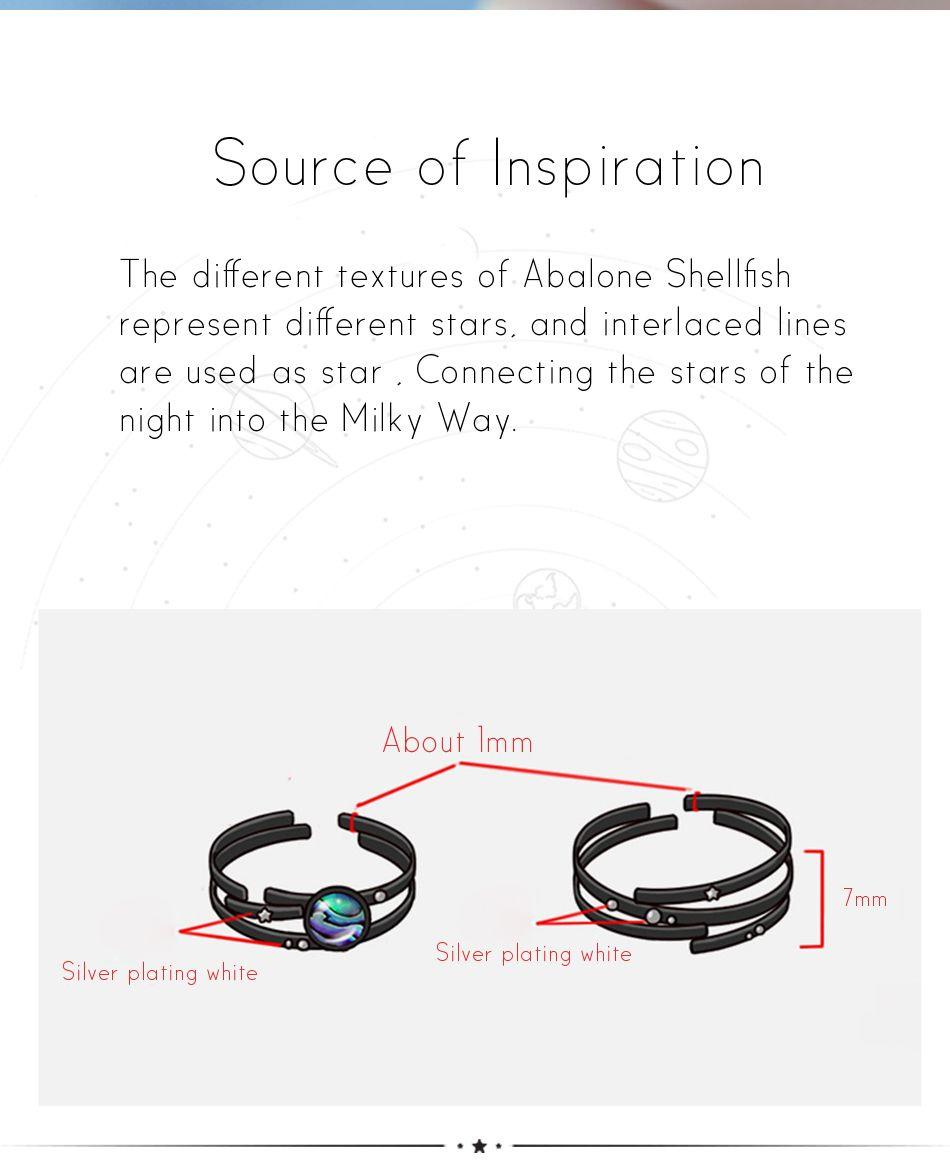 Thaya Stars Milky Trail Gemstone Finger Ring Crystal Gemstone Ring,Couples Ring Set