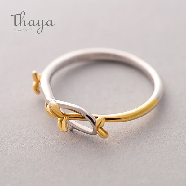 Thaya Gold Silver Bud Ring