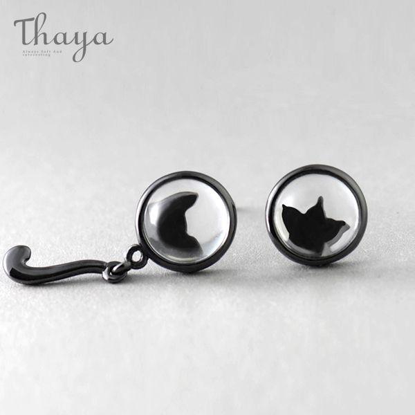 Black Cat & Paw Silhouette Earrings