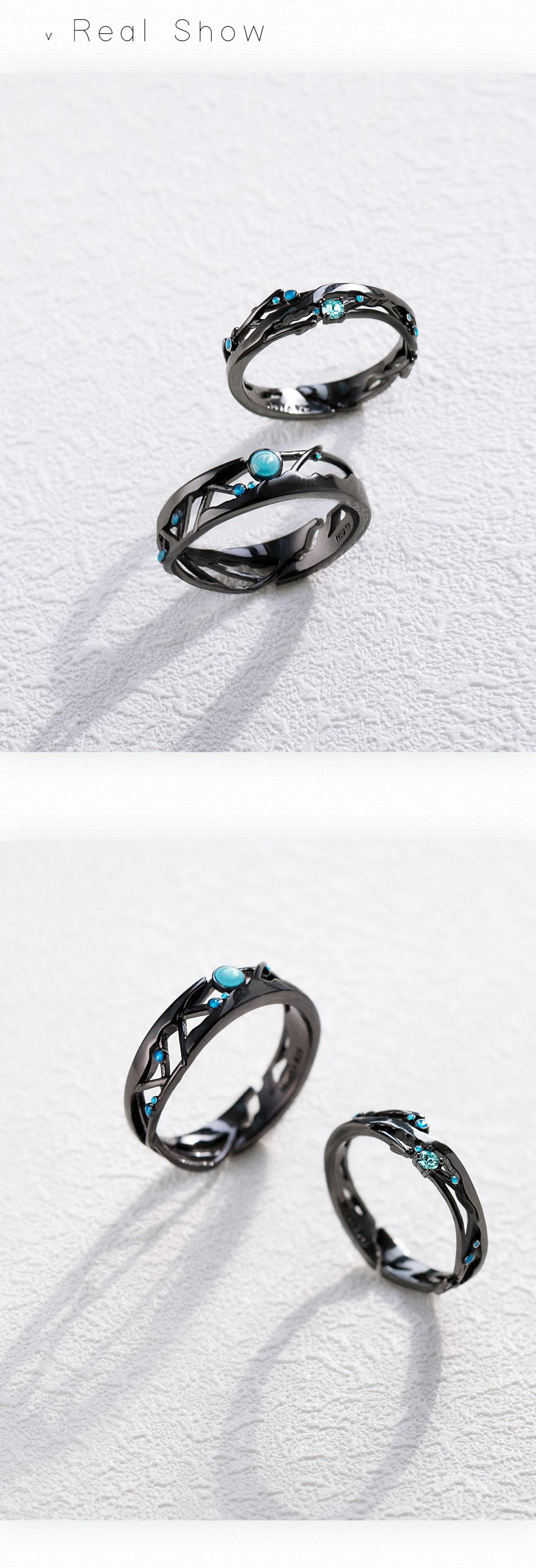Thaya Encounter Blue Zircon Star Black Rings Zircon Gemstone rings