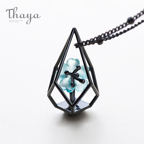 Blue Flower Terrarium Necklace