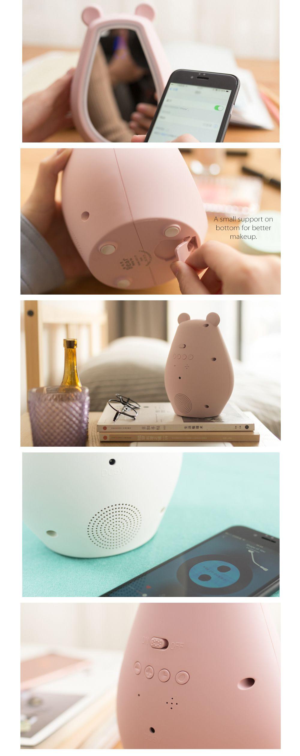 Wireless Makeup Mirror Alarm Clock Multifunctional Design