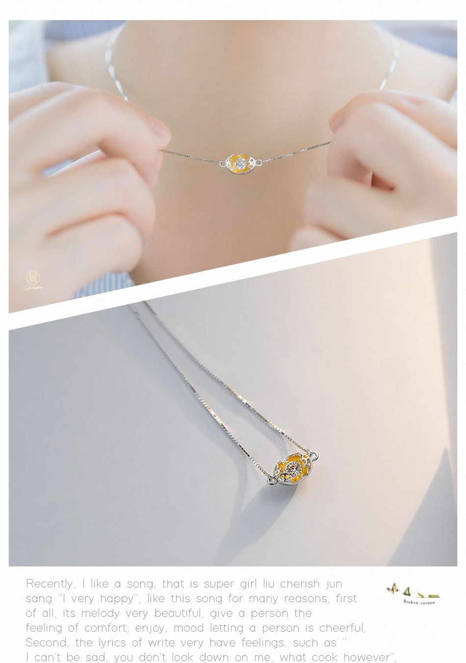 Thaya Gold Cocoon-Break Pendant Necklaces Aircon Gemstone necklace, Gold Pendant Necklace