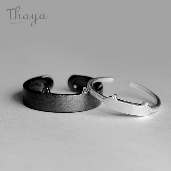 Thaya Black White Cat Lovers Rings