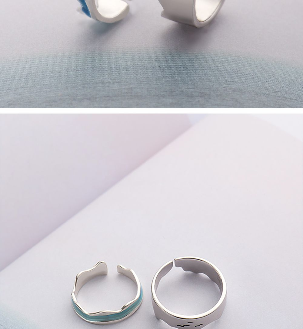 Thaya Ends of The Earth Sky Blue Wave Rings s925 rings,Blue Wave Rings
