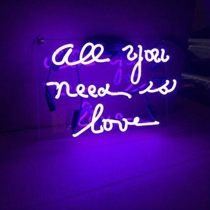 All You Need Is Love Purple Neon Sign