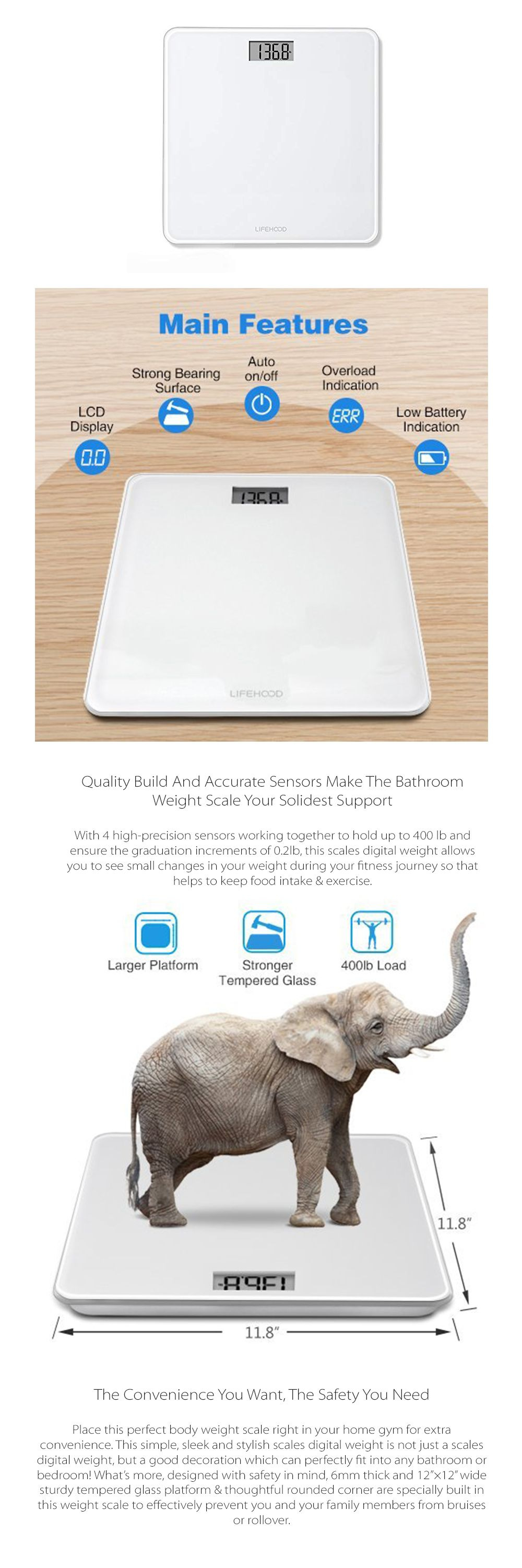 Digital Body Weight Scale 4 High Precision Sensors