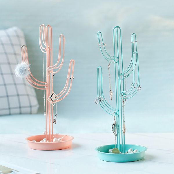 Metal Cactus Jewelry Stand