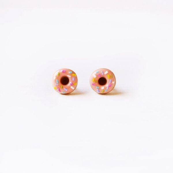 Pink Sprinkle Doughnut Stud Earrings