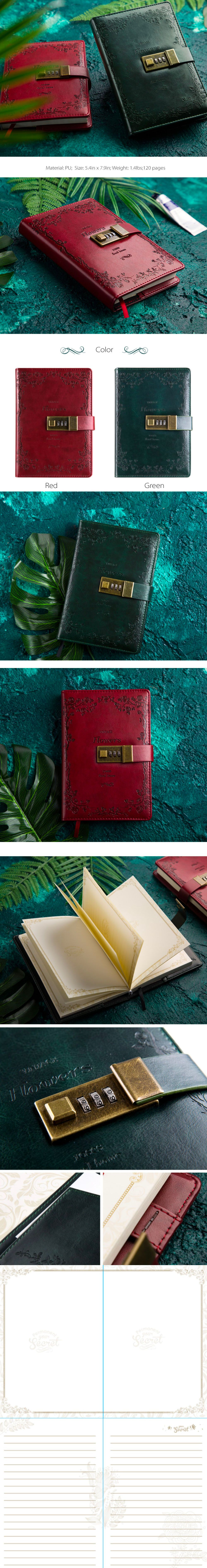 Vintage Flowers Journal Lock Journal