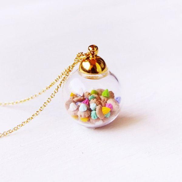 Tiny Ice Gems In Mini Glass Jar Necklace
