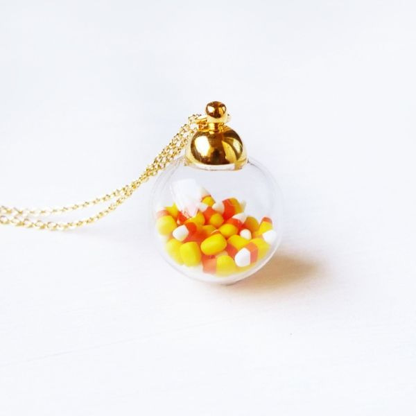 Tiny Candy Corn In Mini Glass Jar Necklace