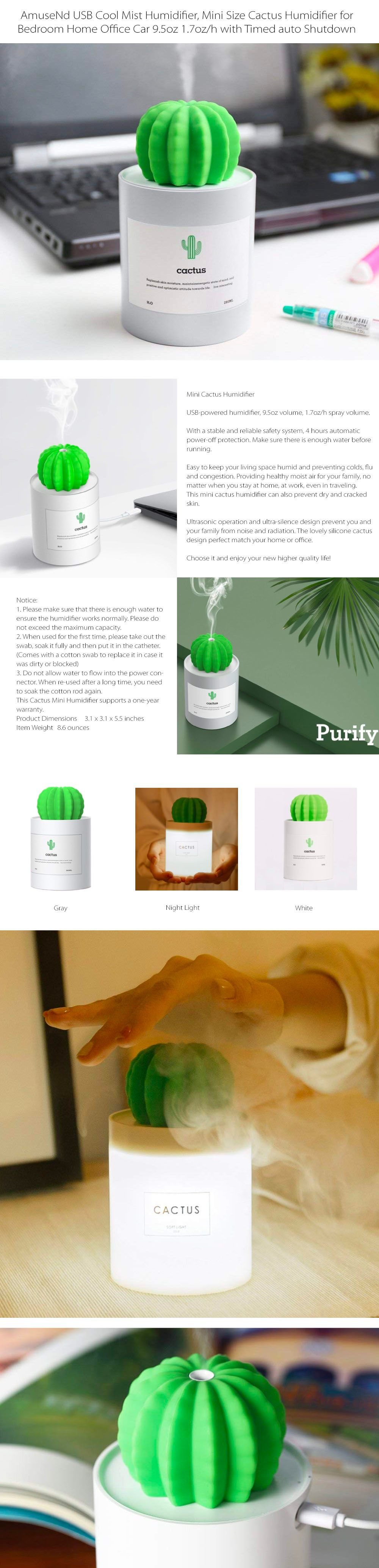 Mini Cactus Humidifier Portable Humidifier