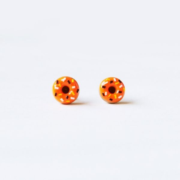 Halloween Sprinkle Doughnut Stud Earrings