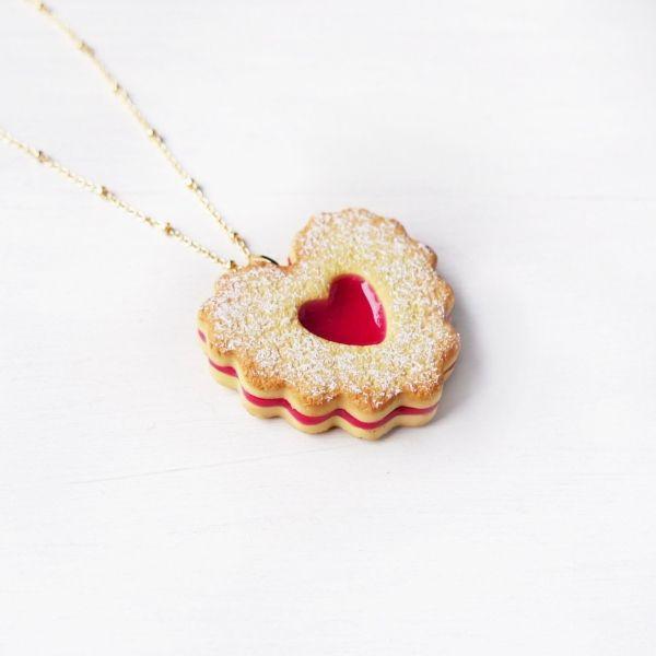 Double Heart Jam Cookie Necklace