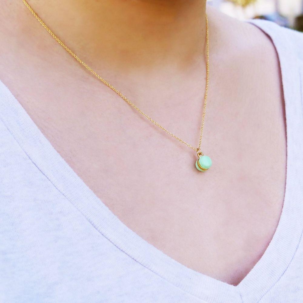 Mini Mint Macaron Necklace Handmade With Love