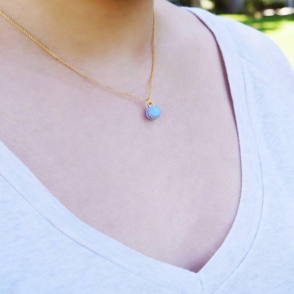 Mini Purple Macaron Necklace Handmade With Love