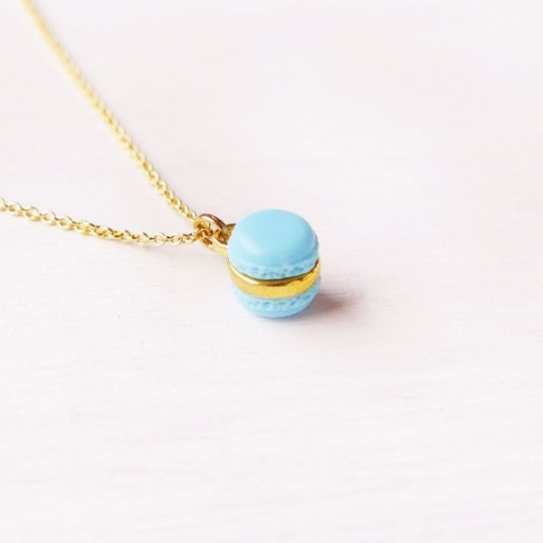 Mini Blue Macaron Necklace