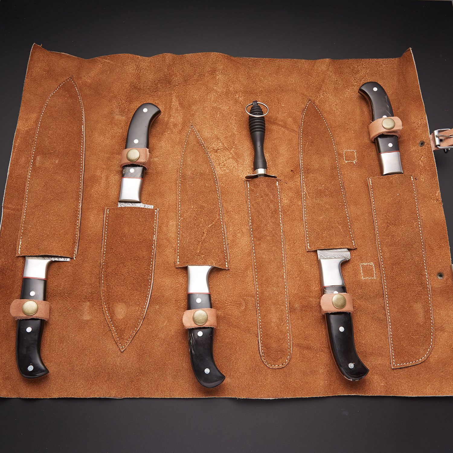 product image for 6 PCS DAMASCUS CHEF/KITCHEN KNIFE + LEATHER ROLL KIT
