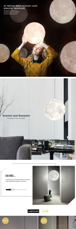 Zeegine 3D Printed Moon Pendant Light with Cold/Warm Color Romantic Moonlight