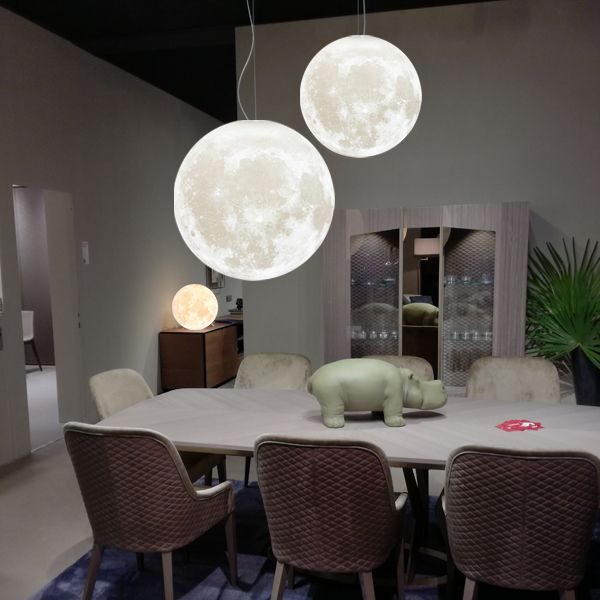 Zeegine 3D Printed Moon Pendant Light