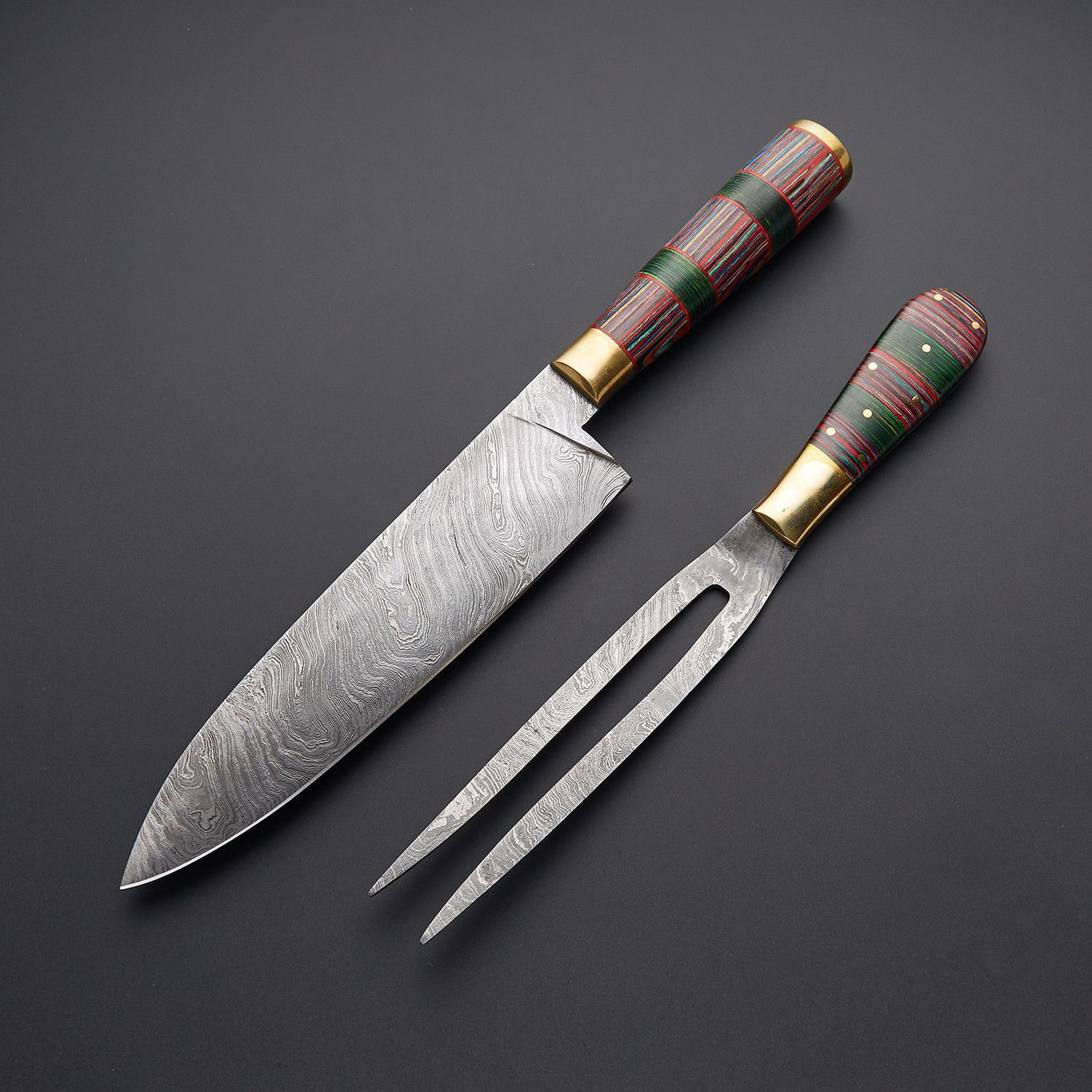 CUSTOM MADE DAMASCUS STEEL BBQ KNIVES +  BOX