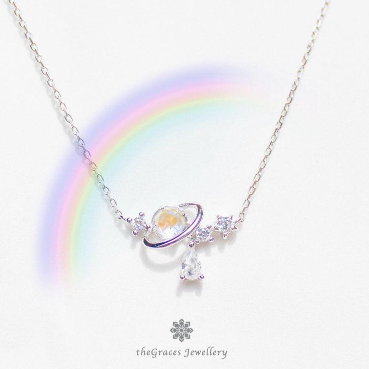 Saturn Teardrop Necklace